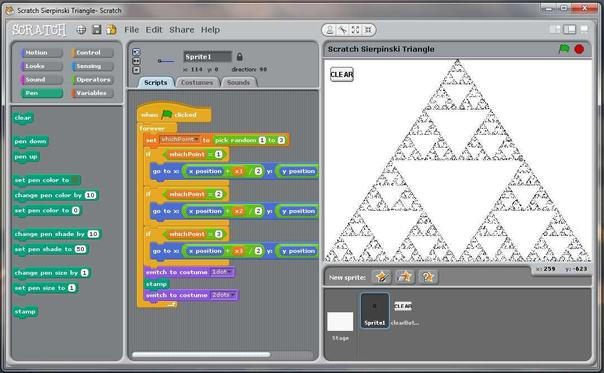 Drawing a Sierpinski Triangle with Scratch.